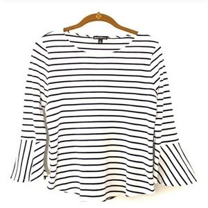 J. Crew 3/4 Bell Sleeves Striped Top White Black